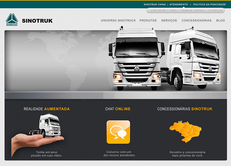 Criação da proposta de Layout do website da empresa Sinotruk
