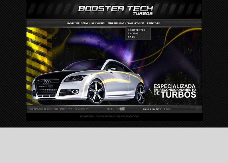 Criação do layout e desenvolvimento do website Booster Tech